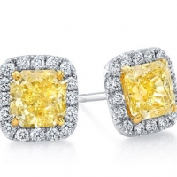 Norman Silverman Yellow Diamond Stud Earrings