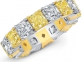 Norman Silverman White and Yellow Diamond Eternity Band