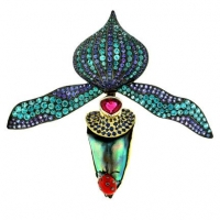 "Paula Crevoshay  ""Midnight Seduction"" Ladyslipper Orchid brooch featuring a 28.89ct natural abalone pearl from Mexico as well as sapphires, blue zircon, black diamond and coral. This one-of-a-kind brooch formed part of Crevoshay's ""Garden of Light"" exhibition at the Carnegie Museum"