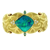 "Paula Crevoshay ""Cleopatra's Charm"" Boulder Opal Bracelet with Diamonds and Blue Zircon"