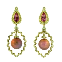 Paula Crevoshay Pearl, Morganite and Diamond Drop Earrings
