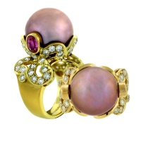 Paula Crevoshay Pearl Ring with Pink Sapphires and Diamonds