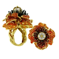 """Paula Crevoshay """"Poppy Ring"""" featuring Moonstone, Diamonds and  Fire Opals. This poppy ring is a symbol of sleep, dreams and peace. Crevoshay's anatomically correct expression mirrors the opulence found in nature."""