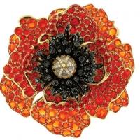 Paula Crevoshay Poppy Brooch Pendant with Opal, Black Diamond, and Moonstone. Featured in Crevoshay's Garden of Light exhibition at the Carnegie Musuem
