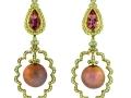 Paula Crevoshay Pearl, Morganite and Diamond Drop Earrings