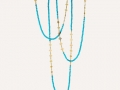 Ray Griffiths Turquoise and Clover Leaf Triple Wrap Necklace