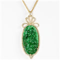 Rina Limor Certified Carved Green Jade Pendant