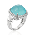 Rina Limor Aqua Chalcedony Ring with Diamonds