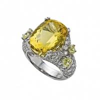 Rudolf Friedmann Yellow Beryl and Diamond Ring
