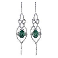 Rudolf Friedmann Green Tourmaline and Diamond Earrings