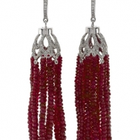 Rudolf Friedmann Ruby Tassel Earrings with Diamonds