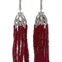 Rudolf Friedmann Ruby Tassel Earrings with Diamonds