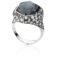 Stephen Webster 18KT White Gold Deco Haze Ring with Hematite Crystal Haze and Black and White Diamonds