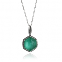 Stephen Webster 18KT White Gold Deco Haze Pendant with Green Agate Crystal Haze and Black Diamonds