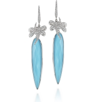 Stephen Webster 18KT White Gold Forget Me Knot Bow Earrings with Turquoise Crystal Haze and White Diamonds