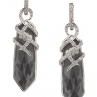 Stephen Webster 18KT White Gold and Hematite Crystal Haze Forget Me Knot Earrings with White Diamonds