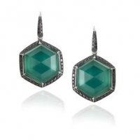 Stephen Webster 18KT White Gold Deco Haze Earrings with Green Agate Crystal Haze and Black Diamonds