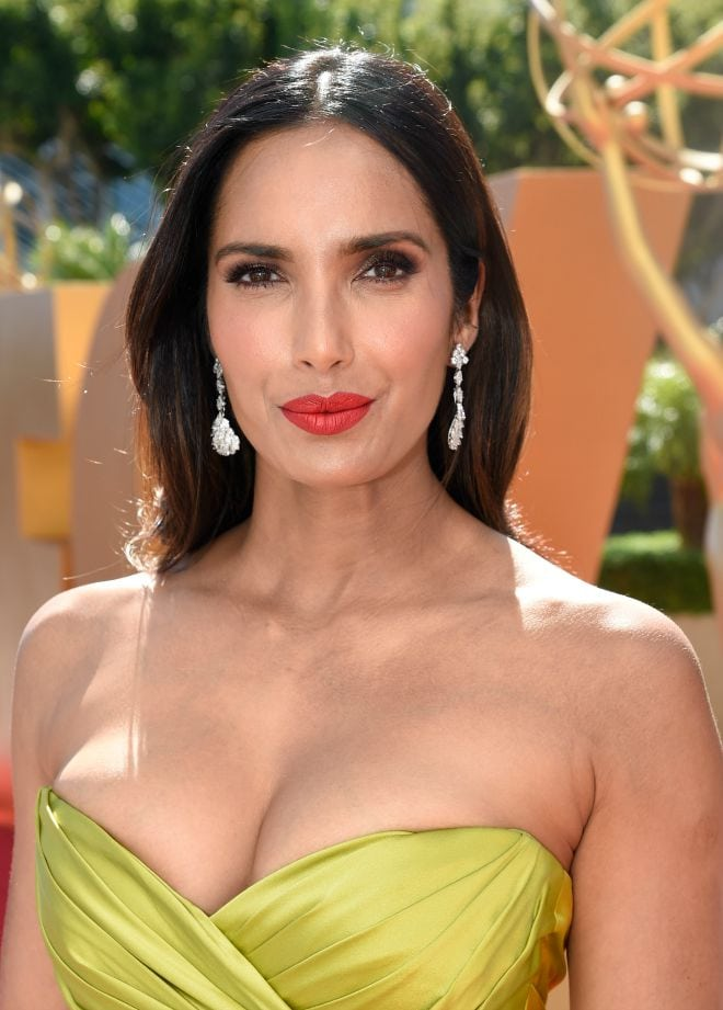 Padma Lakshmi, the Top Chef Host wearing vintage 1950's Fred Leighton pendant earrings
