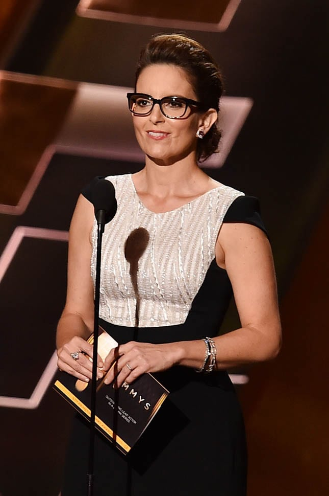 LOS ANGELES, CA - SEPTEMBER 20:  Actress Tina Fey speaks onstage during the 67th Annual Primetime Emmy Awards at Microsoft Theater on September 20, 2015 in Los Angeles, California.  (Photo by Kevin Winter/Getty Images)