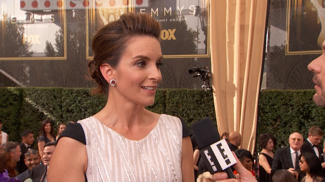 Tina Fey went more traditional with ruby and diamond cluster earrings  from Fred Leighton
