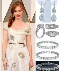 Isla Fisher wearing Norman Silverman diamonds to the Oscars